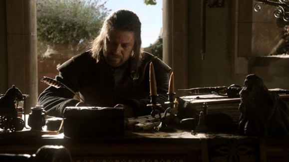 GoT S01E05 00.18.18 - Writing table in Ned Stark's study