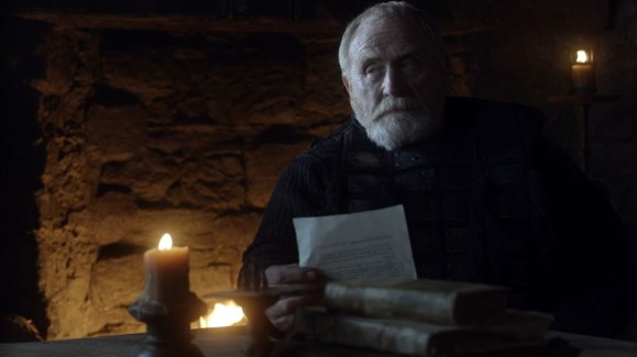 GoT S01E08 00.11.32 - Mormont reading news of Baratheons's death to Jon Snow