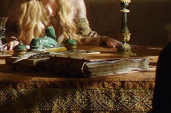 GoT S02E02 00.09.48 - Patyr Baelish's ledger - Close-up