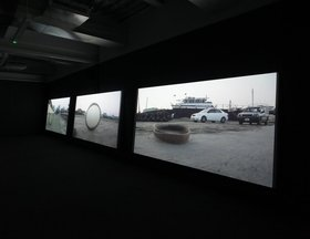Nevin Aladağ, Session, 2013, three-channel HD colour video projection with sound. Commissioned by Sharjah Art Foundation. Image courtesy of Sharjah Art Foundation.