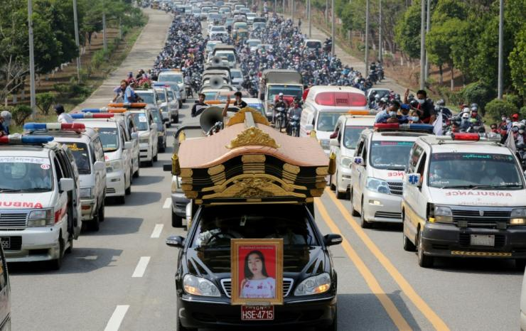 A young woman who died after being shot at a protest in Myanmar's capital has become a potent symbol of the pro-democracy movement