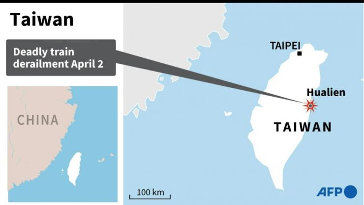 Map of Taiwan, locating deadly train derailment on Friday.