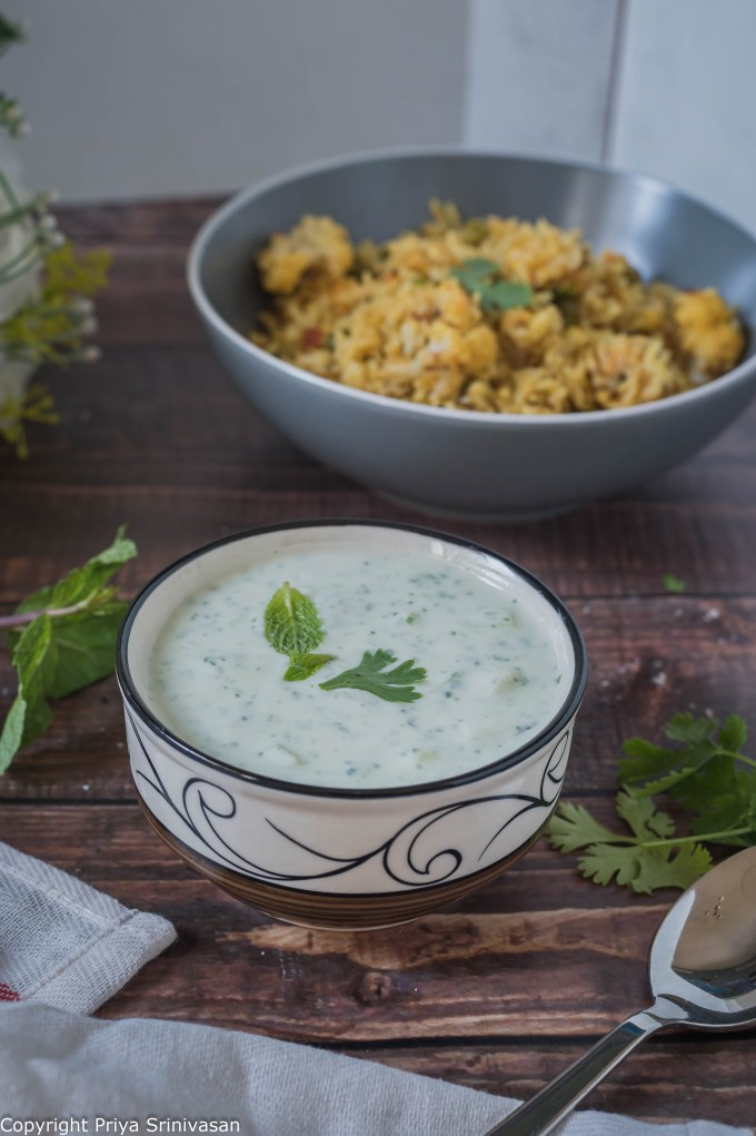 Coriander and mint raita