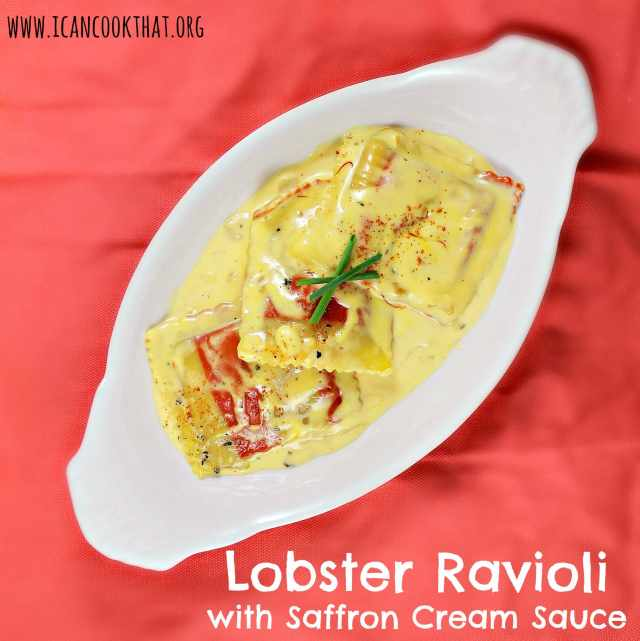 Lobster Ravioli with Saffron Cream Sauce