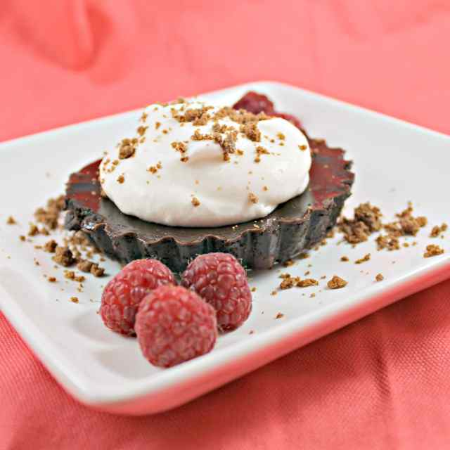 Tim Tam Tarts with Raspberries & Rose Water Whipped Cream