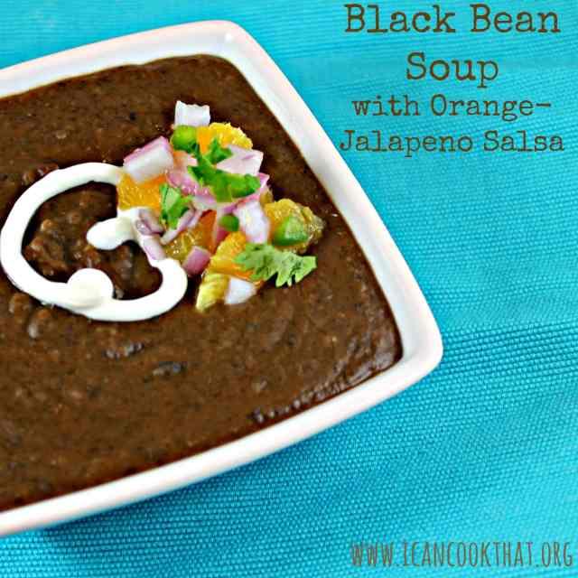 Black Bean Soup with Orange-Jalapeno Salsa