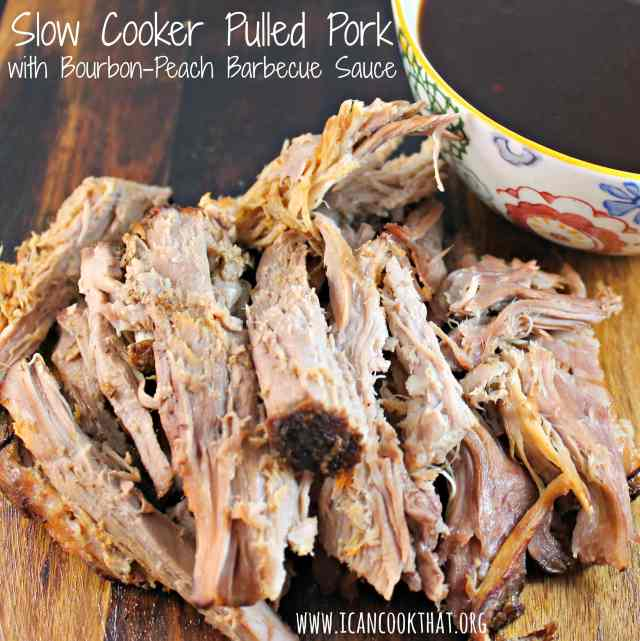 Slow Cooker Pulled Pork with Bourbon-Peach Barbecue Sauce