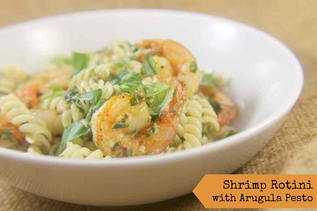 Shrimp Rotini with Arugula Pesto