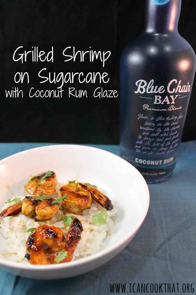 Grilled Shrimp on Sugarcane with Coconut Rum Glaze