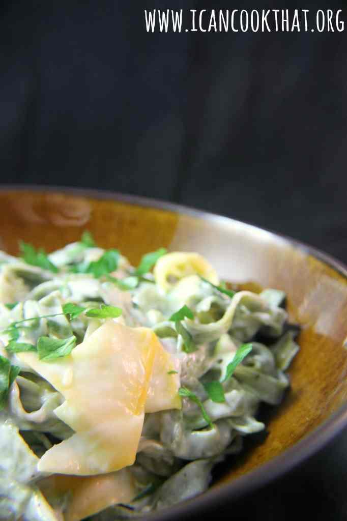Squash Ribbon Pasta with Lemon Herb Cream Sauce