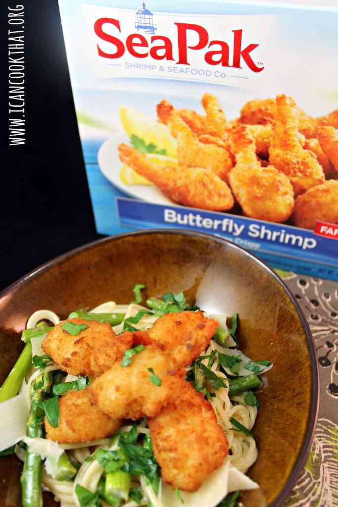 Butterfly Shrimp over Asparagus Pasta #ShrimpItUp #ad