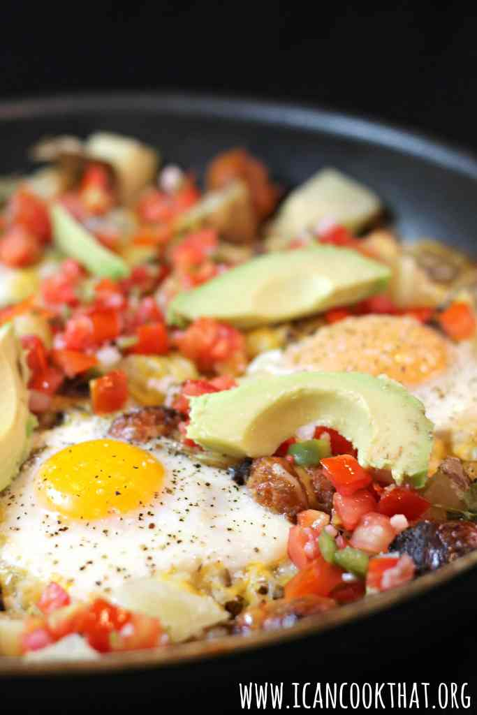 Cheesey Skillet Eggs and Hash