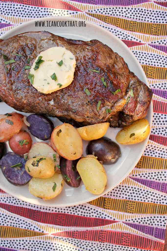 Grilled New York Strip Steak with Honey-Tarragon Blue Cheese Butter and Grilled Tarragon Potatoes