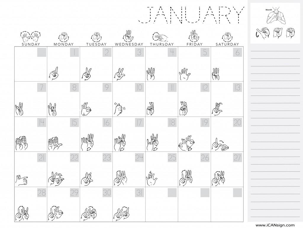 Asl Calendar Printable
