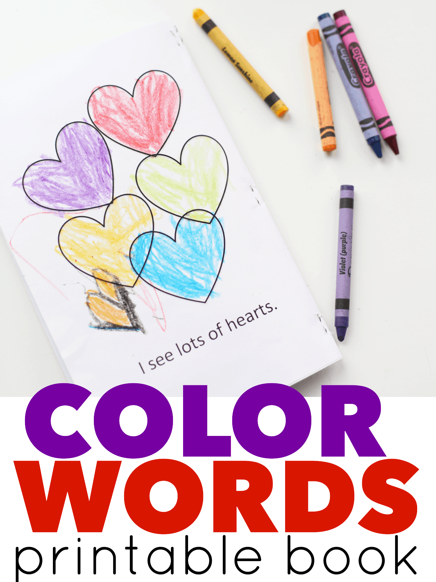 Color Words Printable Book For Valentine S Day