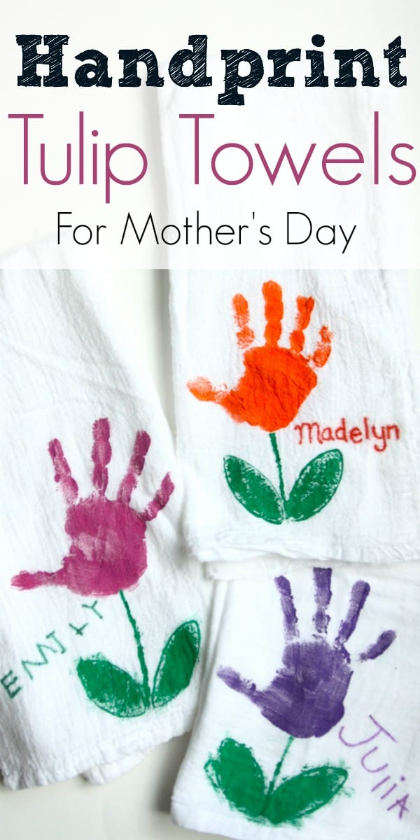 Handprint Tulip Towels For Mothers Day