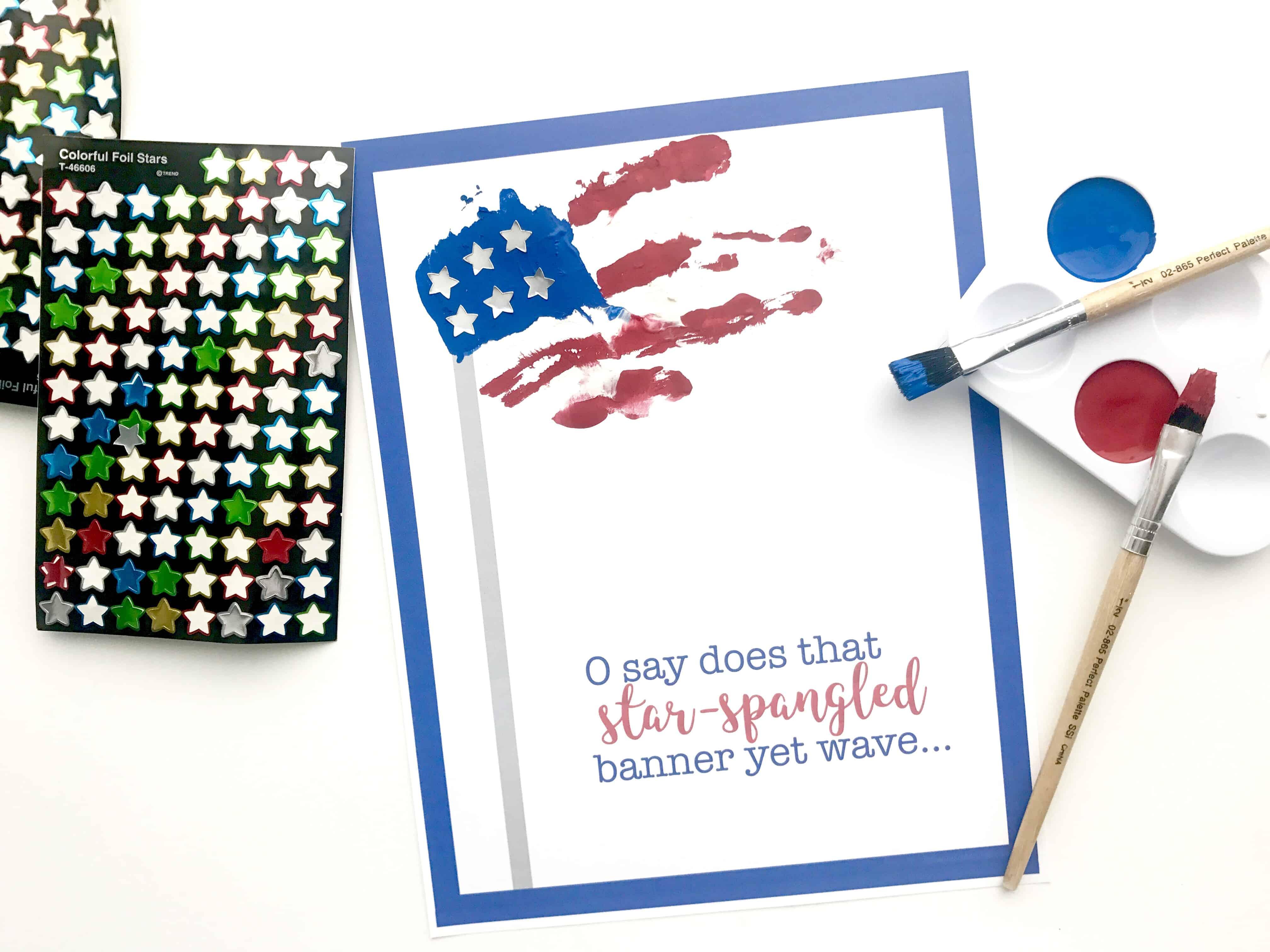 Star Spangled Banner Handprint Art With Printable