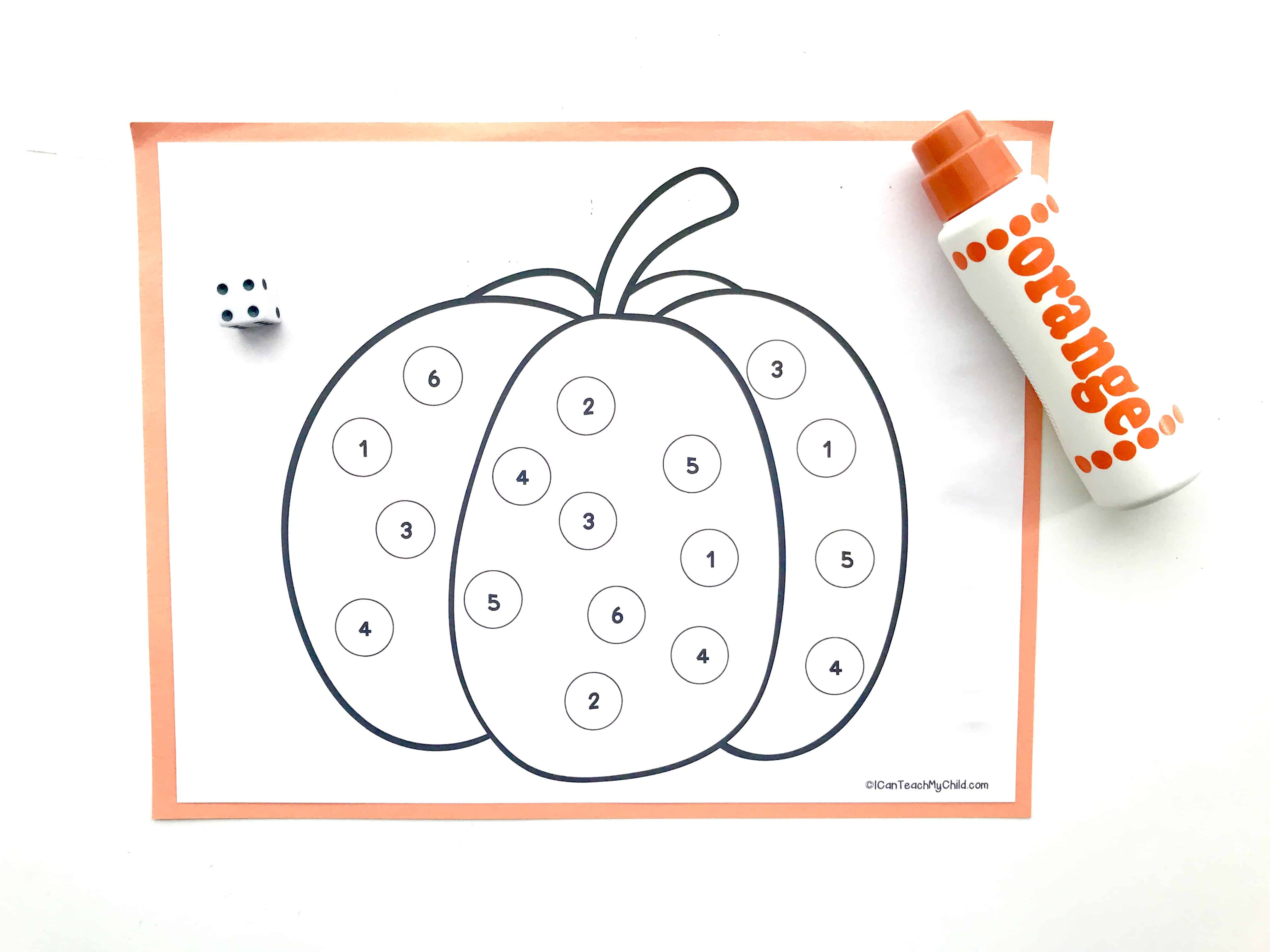 Roll And Mark Pumpkin Dot Art Activity