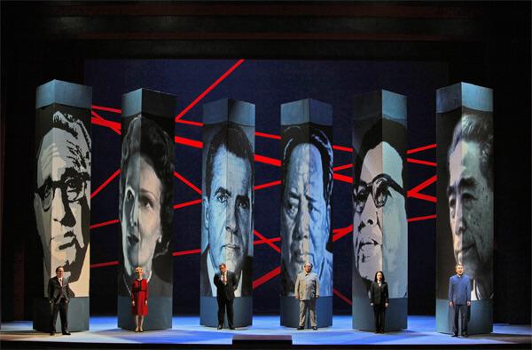 Patrick Carfizzi (Henry Kissinger), Maria Kanyova (Pat Nixon), Brian Mulligan (Richard Nixon), Simon O'Neill (Mao Tse-tung), Hye Jung-Lee (Madame Mao) and Chen Ye Yuan (Chou En-lai) - Photo by Cory Weaver