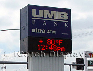 LED Sign Showing Time And Temperature