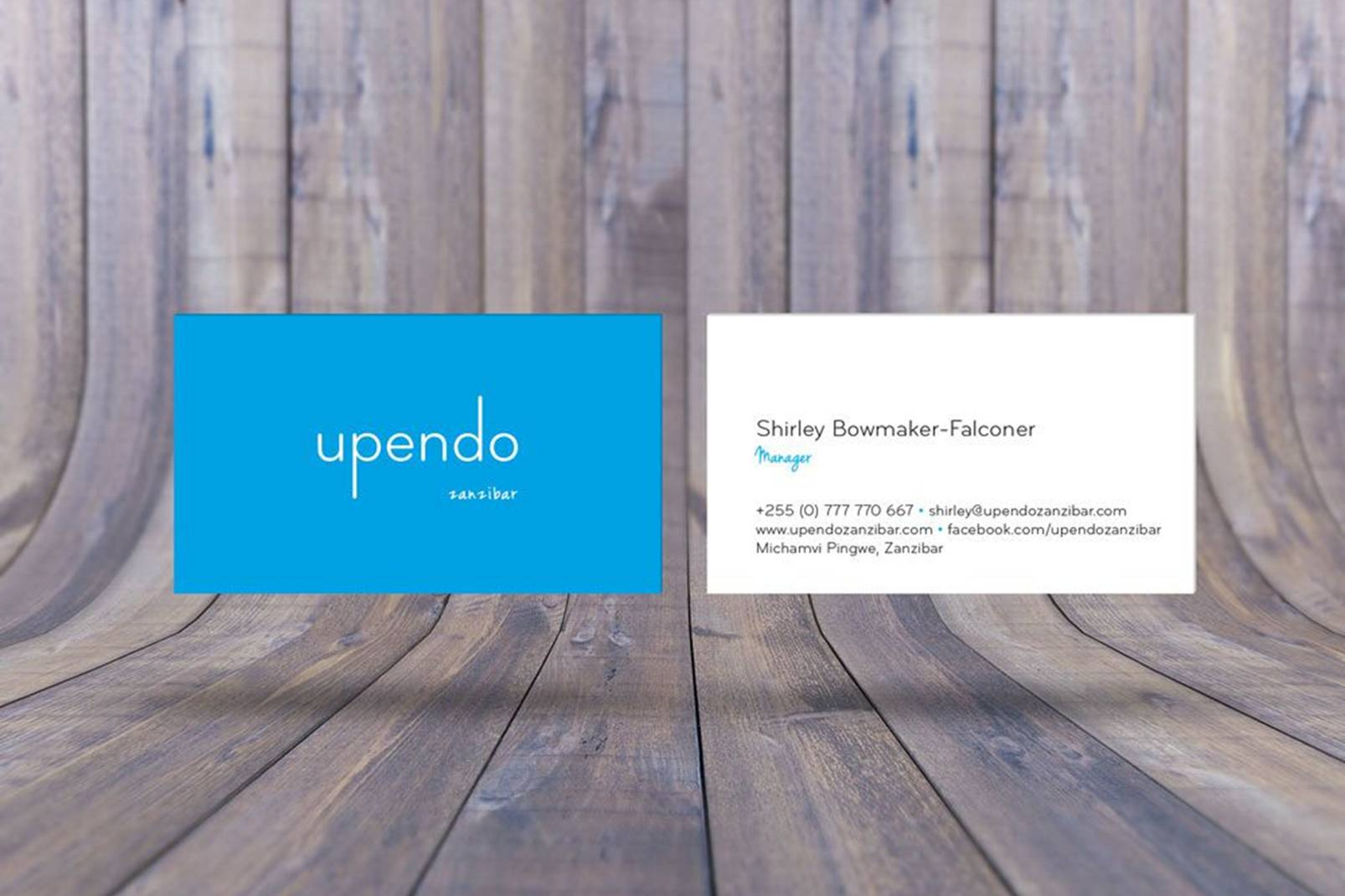 business cards and wooden planks