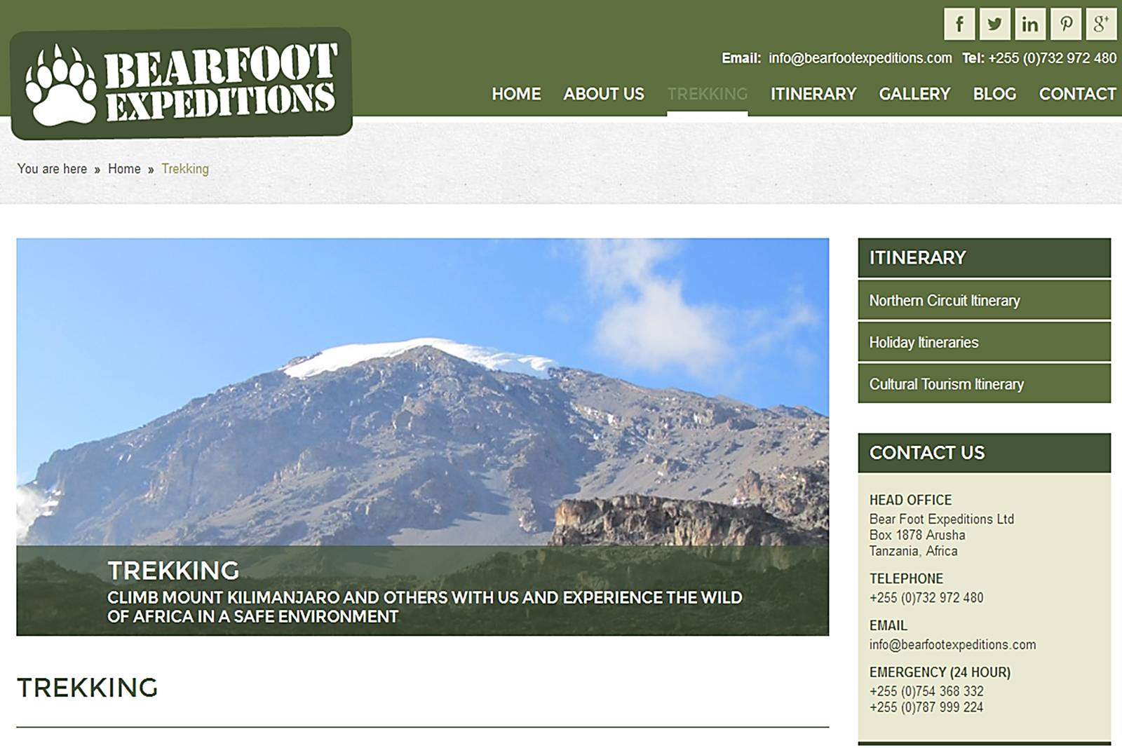 website page with mountain