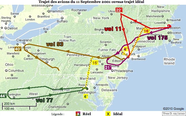 Trajet des avions du 11 septembre 2001 versus trajet idéal, avec durées en minutes (version réduite)