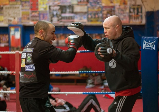 'Z-Man' on the pads with Jon Thaxton one his coaches from The Kickstop. A Norwich & boxing legend. Credit: All photography is by Jerry Daws of StillFocused.