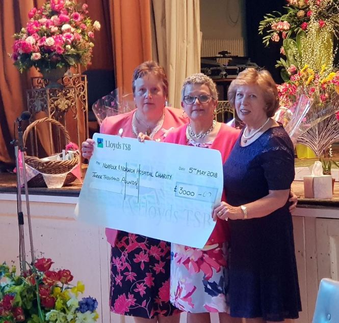 From left, Breckland Flower and Garden Club President Christine Hewson, Maxine Mace, and Club Chair Joy Tunmore.