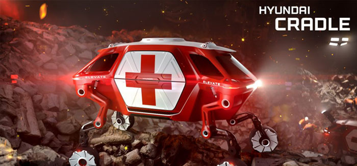A car which can climb walls and step over holes thanks to its robotic LEGS could transform the way rescue teams operate in disaster zones. More than 10,000 people died in natural catastrophes in 2017, with an estimated 201 million needing international humanitarian assistance. One of the problems is reaching those affected - and Hyundai has now unveiled Elevate, a concept vehicle which blends technology found in electric cars and robots to cover terrain beyond the limitations of even the most capable off-road vehicle. Elevate can be driven by first responders to a location like a traditional electric car. But when the terrain gets tough, it can use its highly dexterous robotic legs to move in any direction. It can climb a 5ft wall, step over a 5ft gap, walk at 3mph over tricky terrain, and achieve a 15ft wide wheelbase, all while keeping its body and passengers completely level. The legs, which can 'walk' like a mammal or reptile, also fold up into a stowed drive-mode, where power to the joints is cut, and the use of an integrated passive suspension system maximizes battery efficiency. It is not just disaster zones where people can benefit from Elevate, according to Hyundai. Disabled people who don't have access to a ramp outside their home could hail an Elevate taxi that could walk up to their front door, level itself, and allow their wheelchair to roll in. Elevate is part of Hyundai's 'Centre for Robotic-Augmented Design in Living Experiences' (Cradle), which aims to enhance transportation on and off the road. It has been dubbed the world's first 'Ultimate Mobility Vehicle' and is being revealed in concept form at this week's Consumer Electronic Show in Las Vegas, USA. In a statement, the manufacturer said: At CES 2019, Hyundai Cradle is presenting a totally new vehicle concept that combines the power of robotics and EV technology to take people where no vehicle has been before. The quadrupedal Hyundai Elevate will redefine the boundaries and perceptions of vehicu