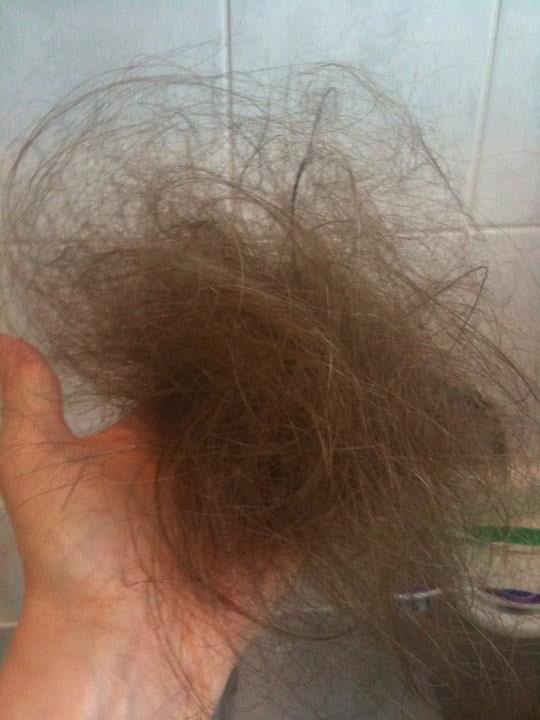 hair in hand