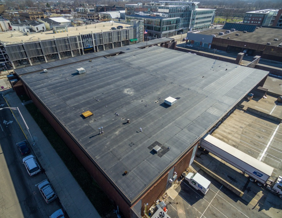 aerial view of new roof