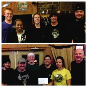 Teams 1 & 2. team 1 shown at the top won the golden ice picks for best challenges