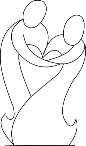 Abstract couple forming a heart Template