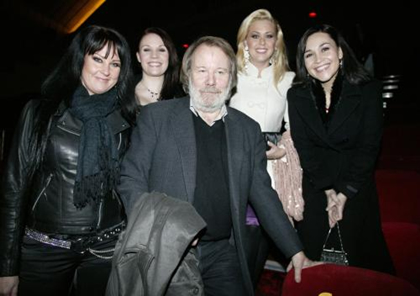 Benny even took time to pose with these ladies vying for the part of Lady of the Lake in London's Spamalot