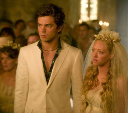 Dominic Cooper and Amanda Seyfried in a still from the Mamma Mia! movie