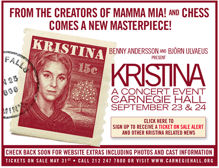 Kristina in concert on Sept 23 and 24