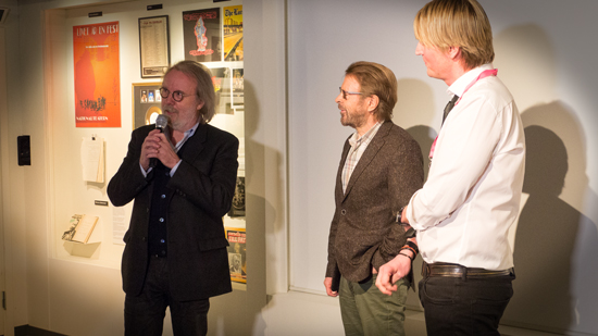 Benny and Björn with Niclas Molinder welcoming attendees to the Stockholm Songwriting Camp