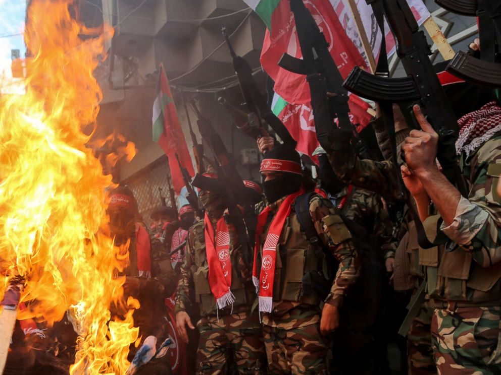 PHOTO: Palestinian Territories: Palestinian militants from the Popular Front for the Liberation of Palestine (PFLP) take part in a protest following Trumps decision to recognize Jerusalem as the capital of Israel, in Gaza City, Dec. 7, 2017.