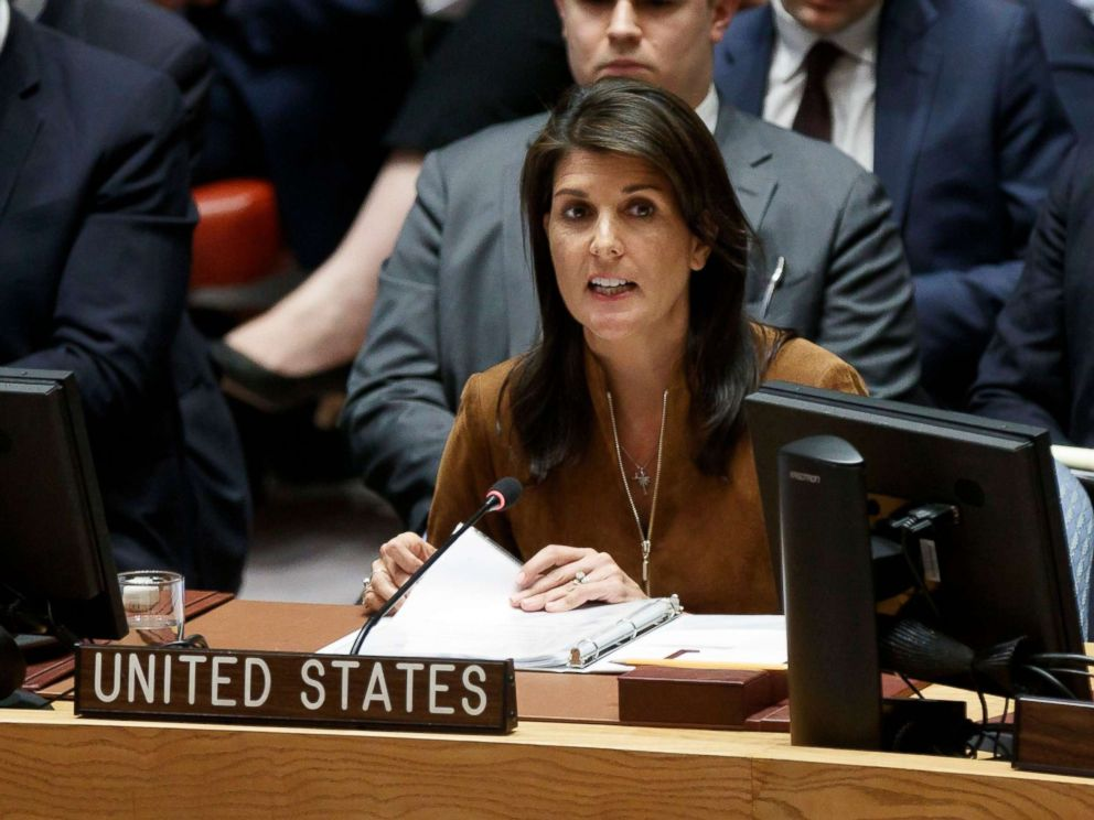 PHOTO: Nikki Haley addresses an emergency United Nations Security Council meeting in response to a suspected chemical weapons attack in Syria at United Nations headquarters in New York, April 9, 2018.