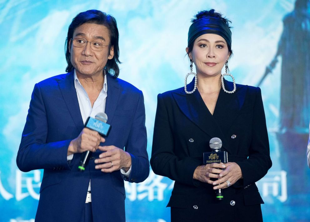PHOTO: Actor Tony Leung Ka-fai and actress Carina Lau attend the press conference of film Asura, July 9, 2018 in Beijing.