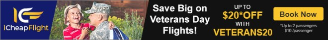 Veterans Day Flight Sale. Save up to $20** off with promo code – VETERANS20. Book Now!