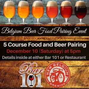 Experience Five Course Food and Belgium Beer Pairing Event Charleston WV Bar 101