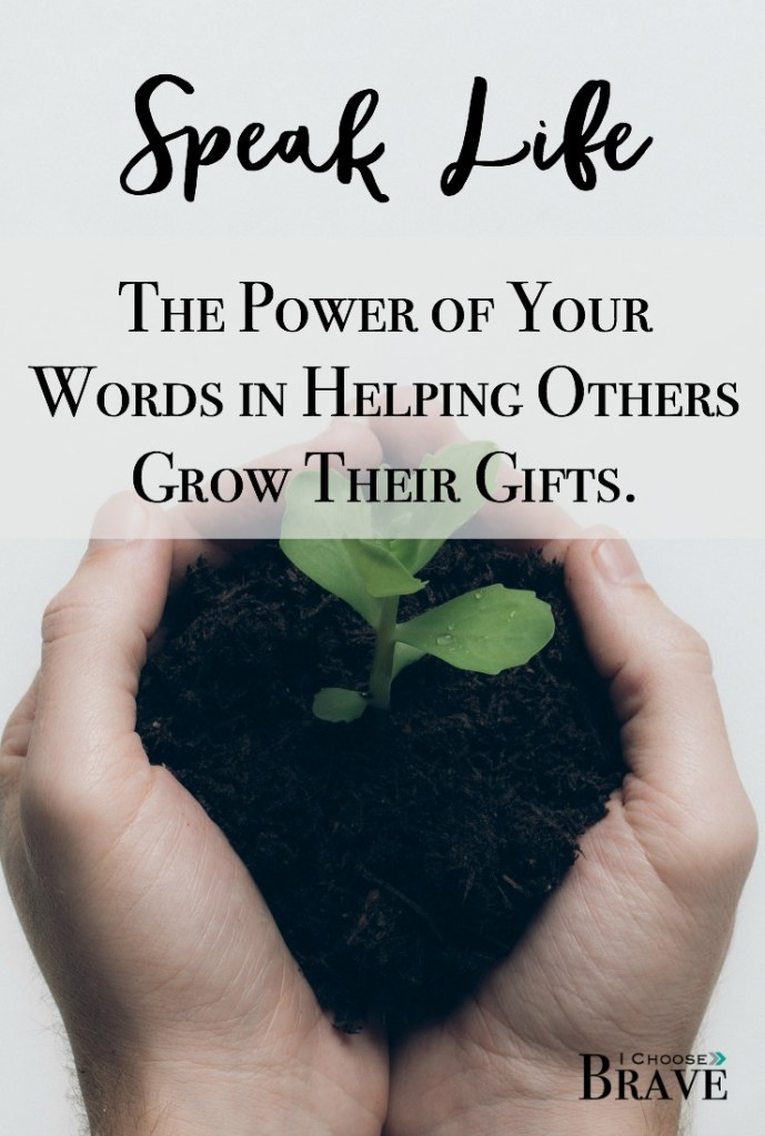 Words are never just words. We have the incredible ability to speak life. We rarely notice our gifts, we fail to see them. But when we have the courage to speak life, we can help others grow the gifts they never even noticed.