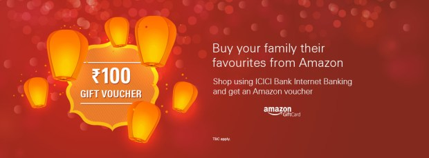 Amazon- Get Amazon Gift Voucher At Rs 150 On First Transaction Via ICICI Net Banking