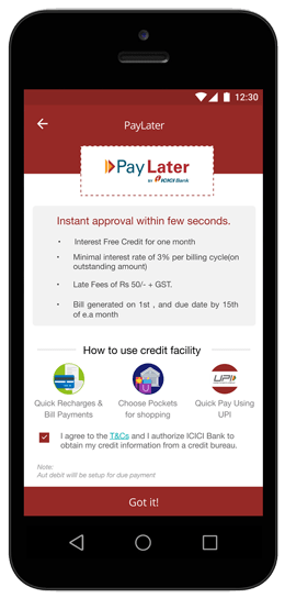 icici paylater account apply from imobile