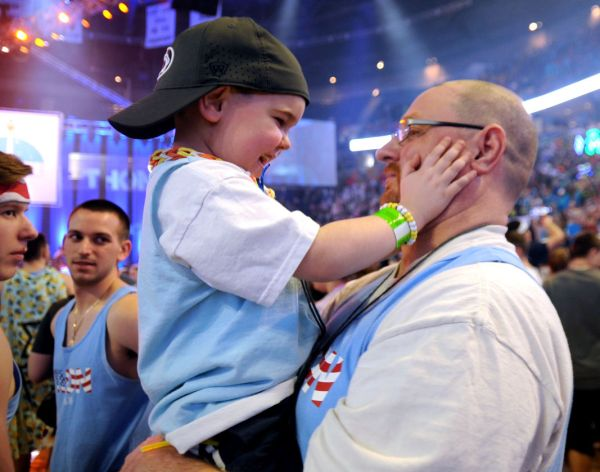 Five year old Garrett Shover with dad Troy at the 2016 Dance Marathon