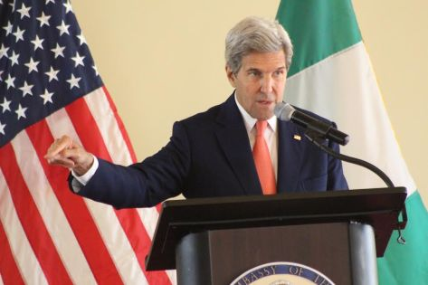 Secretary Kerry delivering his speech