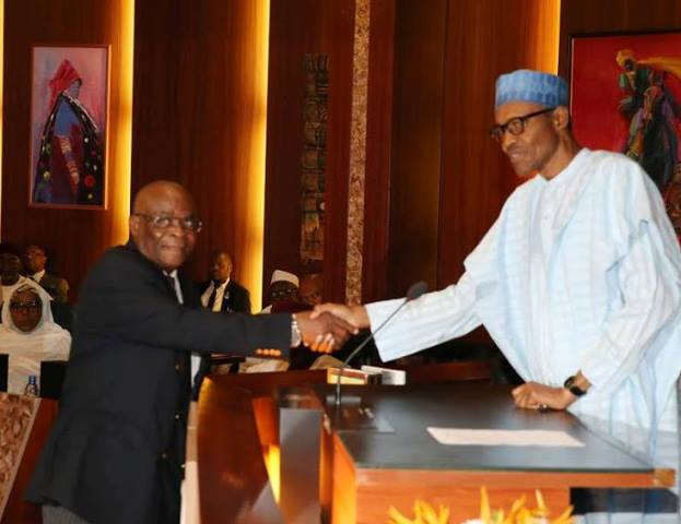 President Buhari congratulating the new Acting CJN, Walter Onnoghen