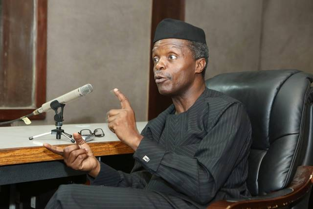 Vice President Yemi Osinbajo frowned against the xenophobic attacks in South Africa. File photo.